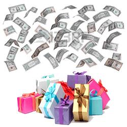 pluie de billets $ + cadeaux